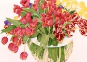 Tulips in a Round Vase