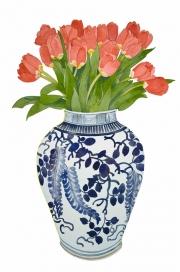 Tulips Chinese Vase